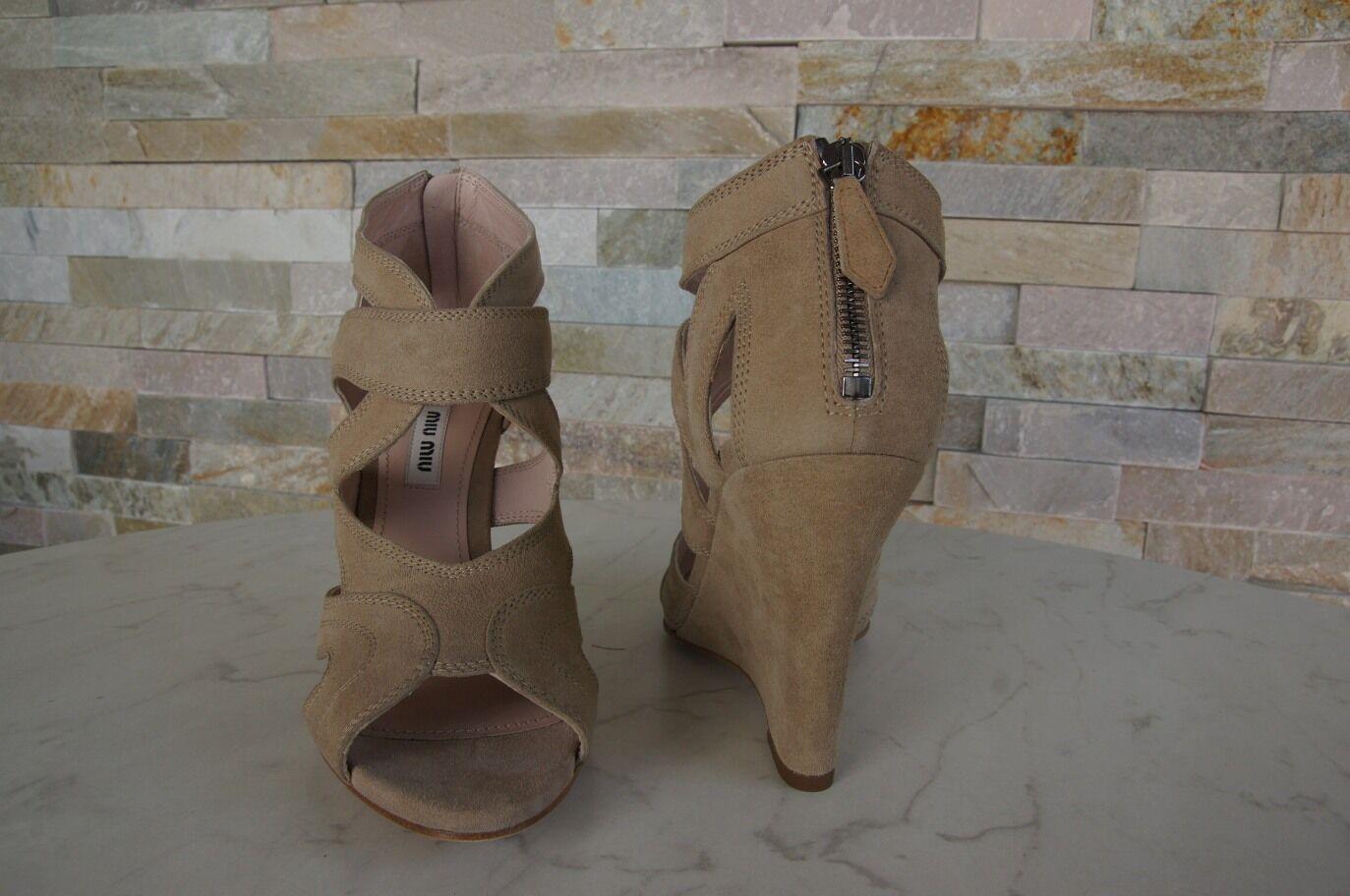 Original Miu Miu Gr 41 Sandalias Tacón de Cuña Sandals Cuñas Zapatos Arena Nuevo