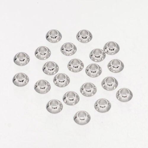 100 x Nickel Free Silver Alloy Rondelle Spacer Beads Crafts Jewerly Making 5.5mm