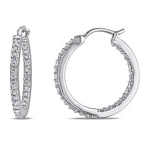 Amour Sterling Silver 1/4ct TDW Diamond Hoop Earrings (J-K, I2-I3)