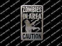 Zombies in Area Warning Metal Wall Art Sign Dorm Bedroom Mancave Decor Plasma
