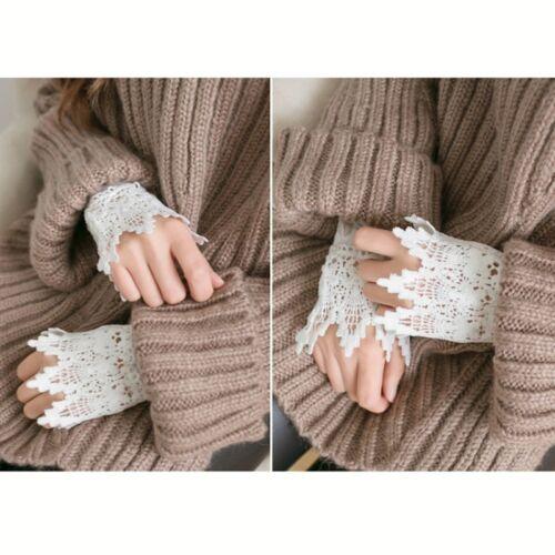 Ein Paar Falsch künstlich Hülle Handgelenk Spitze Manschette Armband Armreifen