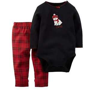 fb68e6f8d Carters Infant Girls 2 PC Polar Bear Outfit Black Creeper   Plaid ...