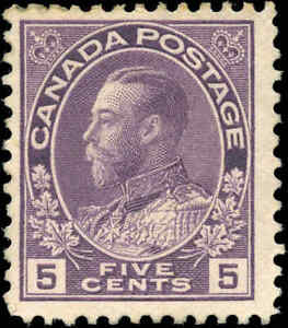 Mint-NG-Canada-5c-1925-F-RE-DRAWN-Scott-112c-KGV-Admiral-Issue-Stamp