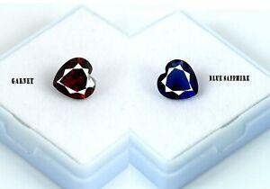 Natural Heart Shape Blue Sapphire & Red Garnet 6.70 Ct Gemstone Pair Certified