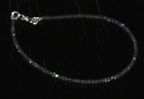 925 Sterling Silber Blue Labradorit Edelstein 5-10 Zoll Armband Perlen FG51