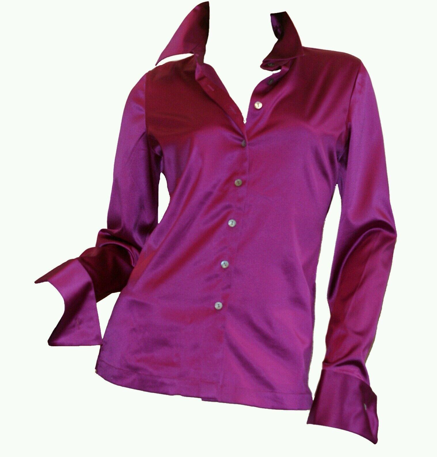 Genuine 22mm Silk Stretch Long Sleeve button down Fuchsia Blouse Größe 6 8 Medium