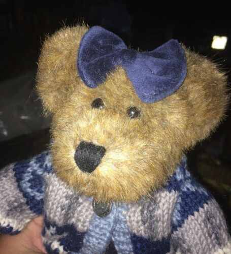"10 "" Boyds Bears The J. B. Collection Blue Bow Dress Sweater with Tush Tag"