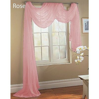 """ROSE BABY PINK SCARF SHEER VOILE WINDOW TREATMENT CURTAIN DRAPES VALANCE 60X216"""""""
