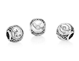 New Authentic Genuine PANDORA Silver Taurus Star Sign Charm - 791937 RETIRED