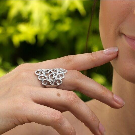 Dolly-Bijoux Bague T60 Rhodié Filigrane Micro-sertie de Diamant Cz silver 925