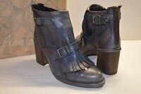 $248 Free People Leather Boot Circle Back Heel Black Boho Bootie Vintage