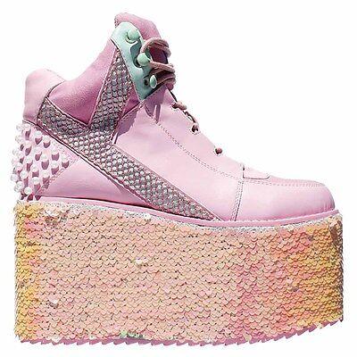 """NIB Y.R.U.YRU Pink/Aqua """"QOZMO HI MERMAID"""" Platform Sneakers SIZES 6 - 12 -SALE"""