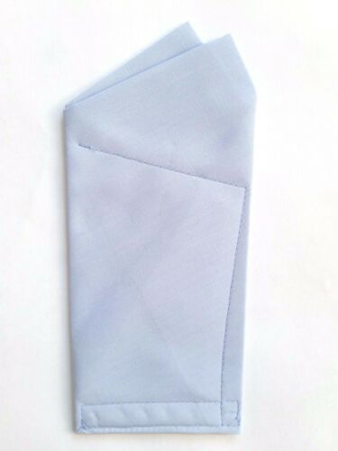 pre-folded /& Sewn POCKET SQUARE Light Kentucky Blue 2 point wing style