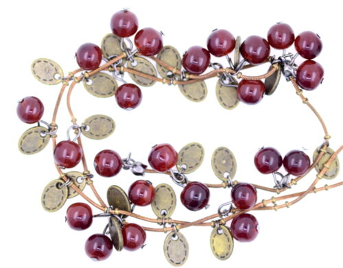 Long red simulated agate cherry necklace