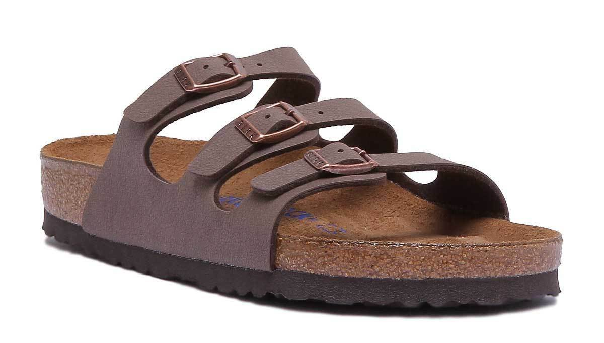 Birkenstock Florida Soft Foot-Bed Birko Flor Damens Synthetic Leder Mocca Three
