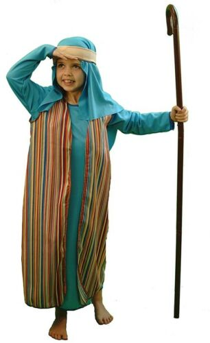 Nativity-Christmas-Bible BLUE /& STRIPED SHEPHERD Fancy Dress Costume All Ages
