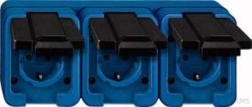 Merten Schuko-Prise murale 3 positions bleu résistant aux chocs 229375