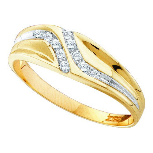 10K Yellow Gold 0.12ctw Diamond Mens Fashion Band Ring