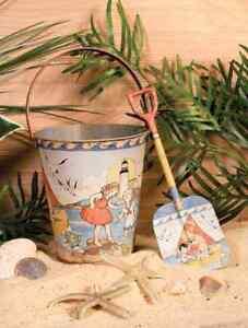 Adorable Food Safe All Metal Sand Pail & Shovel Set New Vintage Style