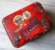 Old Vintage India Original PRABHAT Silk Mantles Adv. Litho Tin Box