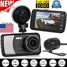 4'' Dual Lens Camera HD 1080P Car DVR Vehicle Video Dash Cam Recorder G-Sensor