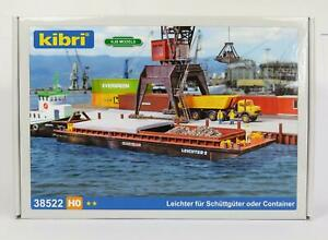 BNIB-OO-HO-GAUGE-KIBRI-38522-BARGE-KIT-PUSH-BARGE-WITH-REMOVABLE-HATCHES