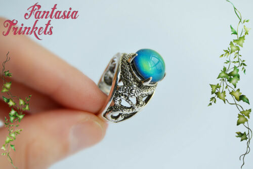 Color Changing Stone Antique Silver Unisex Adjustable Snake Ring Mood Ring