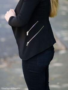 Xs Zips Jacket Flowy Lapels Black Size Blazer Out Sold With Zara gRSUqW