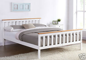White Wooden Bed Frame Pine Oak Top Double King Single Size And