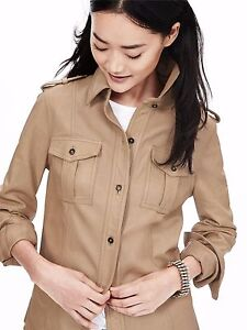 54186a0b6 Details about Banana Republic Women's Natural Heritage Leather Shirt  Jacket, Mojave SIZE S