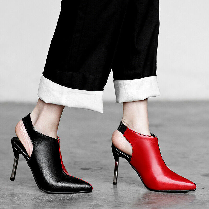 Fashion Women Stiletto Heels Side Zip Ankle Boots Pointy Toe Hollow Out shoes
