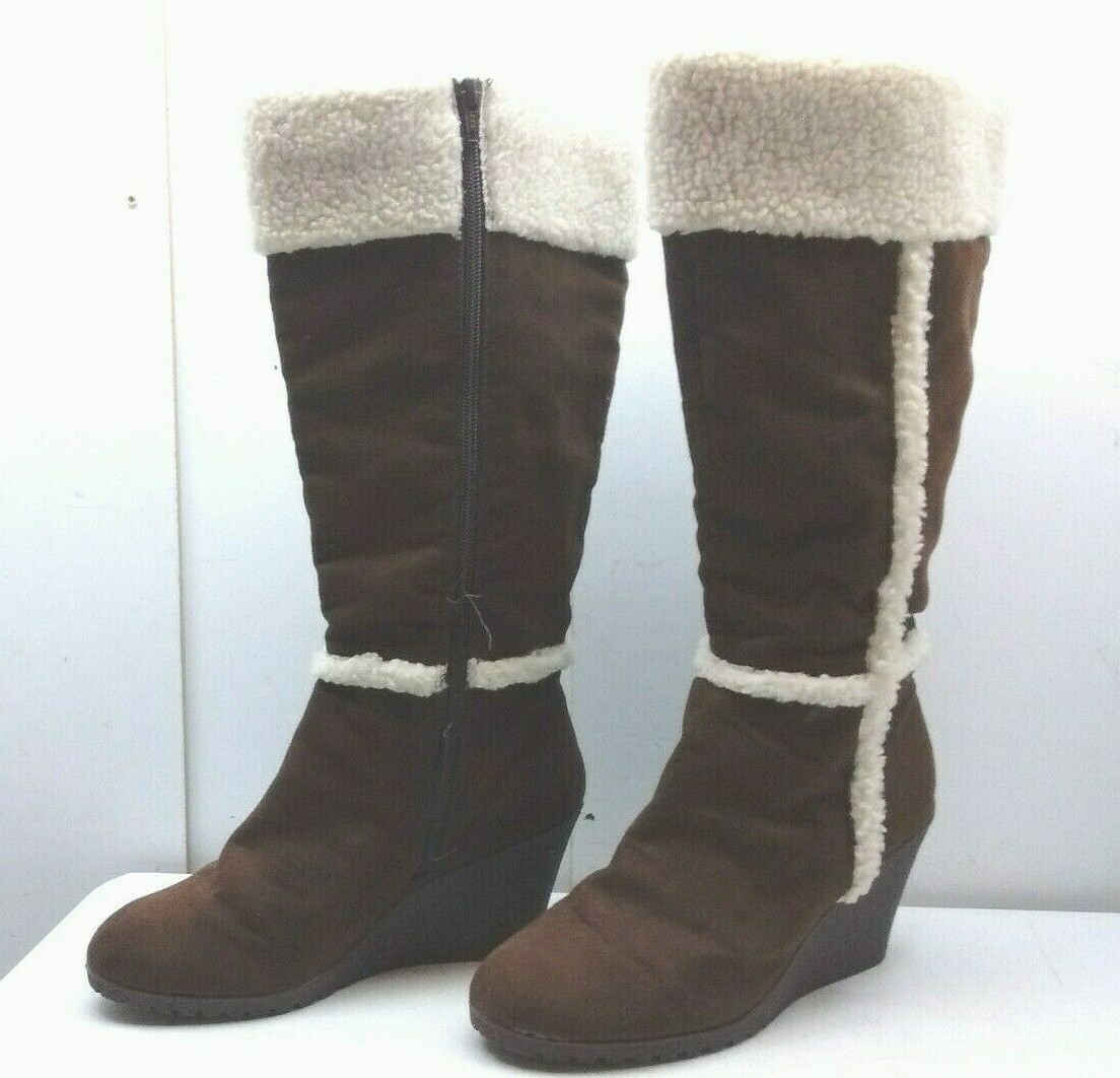 Old Navy Brown Textile Tall Wedge Zip Insulated Boot Winter Snow Women's shoes 9M