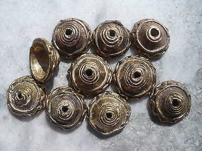 10 Perlen Messing Cups Kappen 22 mm Ghana Ashanti Wachsausschmelzverfahren