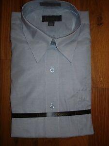 cbe86a637c31fd NWT RENZO Navy Blue/White Striped Dress Shirt Mens Large L 16 - 16 1 ...