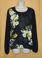 Linea Domani Women's Black Green Floral Sheer Back Ls Dress Blouse Top 8 12 $120