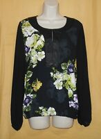 Linea Domani Women's Black Green Floral Sheer Back Ls Dress Blouse Top 8 12 $120