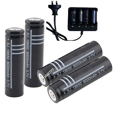 18650 3.7V Black Li-ion Rechargeable Battery/charger FOR FLASHLIGHT