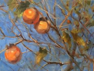 Persimmons-oil-painting-by-Margaret-Aycock-blue-sky-Oklahoma-impressionism