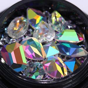 Transparent-AB-Farbe-Nagel-Strasssteine-Marquise-Herz-3D-Nagel-Dekoration-DIY