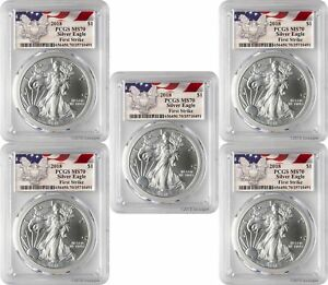 2018-1-American-Silver-Eagle-PCGS-MS70-First-Strike-Eagle-Label-Lot-of-5