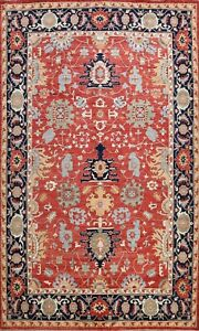 Vegetable-Dye-Heriz-Serapi-Oriental-Hand-knotted-Area-Rug-Geometric-Carpet-9x12