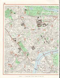 1964 Vintage London Street Map Kensington Brompton Earls Court