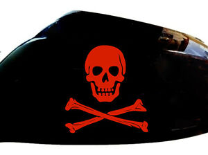 Skull-and-Crossbones-Car-Stickers-Wing-Mirror-Styling-Decals-Set-of-2-Red