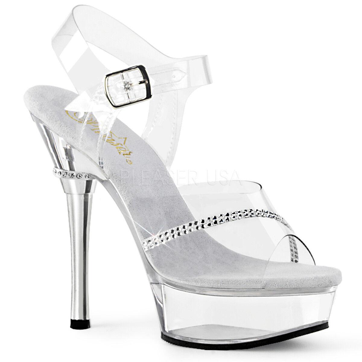 PLEASER - - - Allure-608R Sexy Heel Platform Ankle Strap Sandal Rhinestone 6dea63