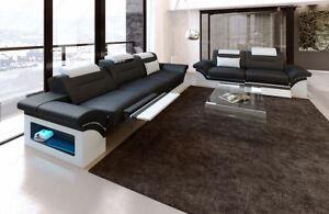 couchgarnitur echtleder monza 3er und 2er led sitzgruppe echtleder garnitur sofa ebay. Black Bedroom Furniture Sets. Home Design Ideas