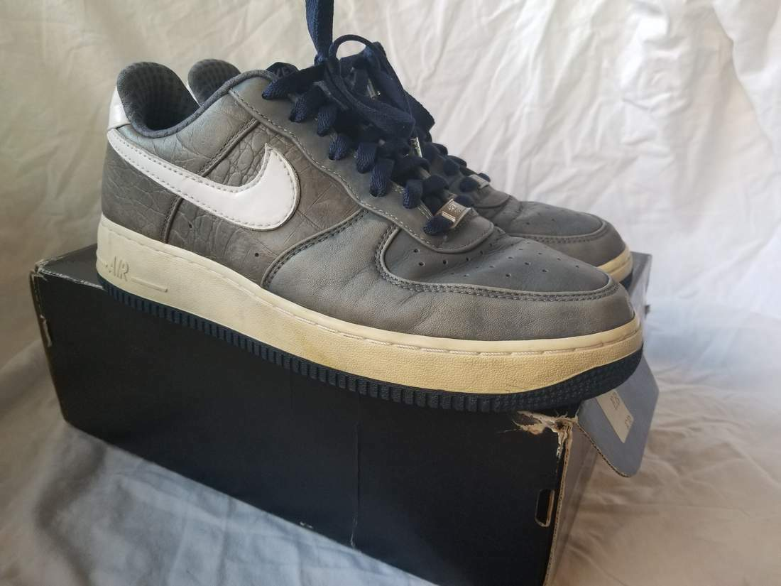 NIKE AIR FORCE 1 LOW PREMIUM FLINT GREY NAVY BLUE LEATHER Price reduction