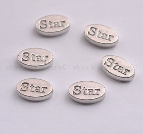 10Pcs Wholesale Antique Silver Tibetan  Oval Spacer Beads Jewelry Findings