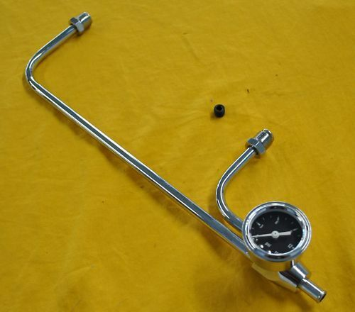 Chrome Fuel Line Holley 3310 4160 Vacuum Secondary With Gauge
