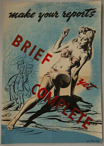 Original-1943-World-War-II-Training-Poster-Make-Your-Reports-Brief-Yet-Complete