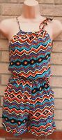 SUGAR CANDY TRIBAL STRAPPY MULTICOLOR  CULOTTE PLAYSUIT JUMPSUIT ALL IN ONE  S M